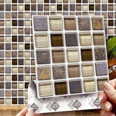 8 Stick & Go Glass Stone Square Mosaic Wall Tiles for Kitchens & Bathrooms