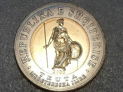 Albania 5 Leke 1995. UNC, double headed Eagle, Olive branches.First issue.