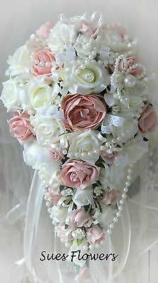 Wedding  Luxury Vintage Peach and ivory shower Style Brides Bouquet Pearls,