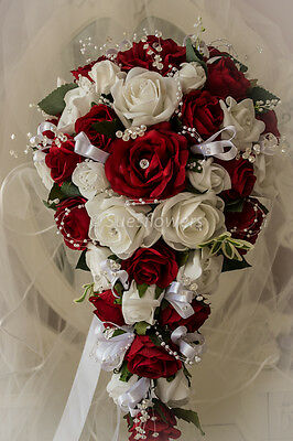 Wedding Flowers Brides Teardrop Bouquet In White And Red