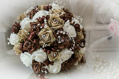 Wedding Flowers Brides Bouquet In Chocolate/coffee And Ivory