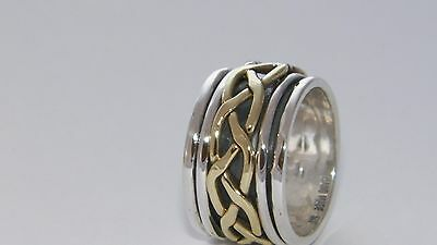 Hammered Hand Made Braided Spinner.925 Sterling Silver and Brass RingCustom size