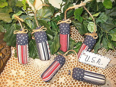 6  Patriotic 4Th Of July Fabric Firecracker Ornies Ornaments  Bowl Fillers Decor