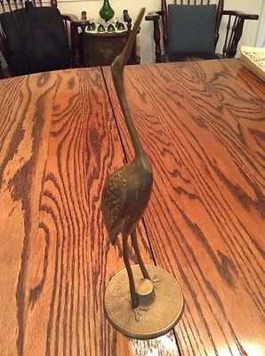 Solid Brass Heron Crane Egret Standing Metalware  Vintage Beautiful
