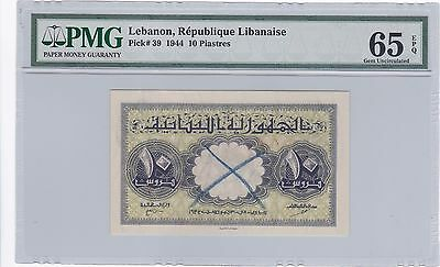 LEBANON 1944 10pi (pick 39) Specimen Annule Gem Uncirculated PMG 65 EPQ Superb.