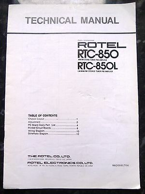 ROTEL TECHNICAL (service) MANUAL for RTC-850 & RTC-850L Tuner Pre-Amplifier