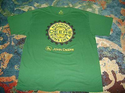 JOHN DEERE XL T-Shirt NOTHING RUNS LIKE A DEERE Green EXCELLENT CONDITION