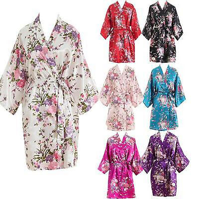 Women Short floral Robe Dressing Gown Bridal Wedding Bride Bridesmaid Kimono2017