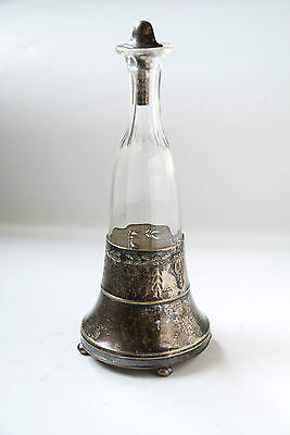 Antique ARGENTOR Crystal glass carafe  19th century - Silver Plated