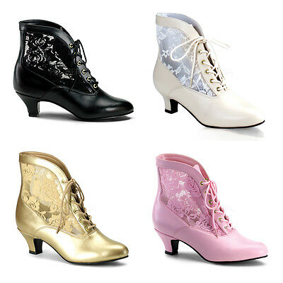 Dame-05 Gothic Mittelalter Theater Stiefelette Stiefel Funtasma Ankle Boots