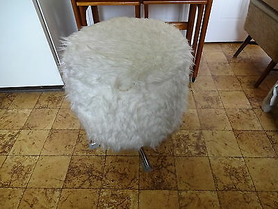 Vintage German Retro 1970s Fluffy Stool Storage Storage Solution Sewing -RARE!
