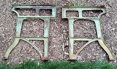 Vintage Industrial Machine Age Cast Iron Table / Workbench Legs Metal Art