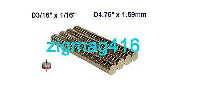 "50 pcs of Grade N52, D3/16"" x 1/16"" thick Rare Earth Neodymium Disc Magnets"