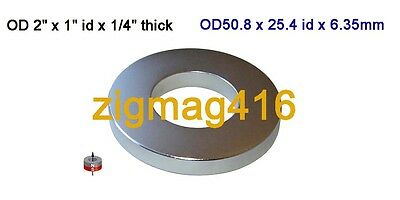"1 pc of Grade N52, OD2"" x 1""id x1/4""Neodymium Ring Magnet"