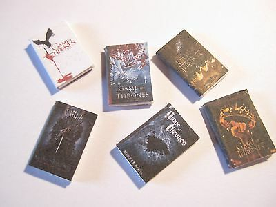 6 Dolls House Miniature Game Of Thrones Books Set 1