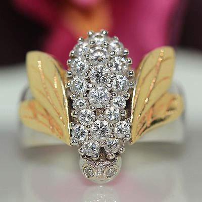 Estate 14k White & Yellow Gold  VS-SI Bee Diamond Cluster Ring