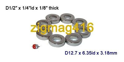 "12pcs of N52, OD1/2""x1/4""idx1/8""Neodymium Ring Magnets, Diametrically magnetized"
