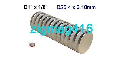 "10 pcs of 1""dia x 1/8"" thick Rare Earth Neodymium Disc Magnets"