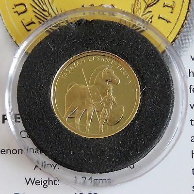 TURKEY 1999 TROJAN HORSE .999 GOLD PROOF 7,500,000 LIRA - coa