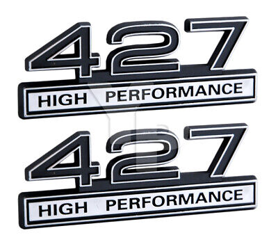 "7/"" Long Pair Chrome /& Black High Performance Engine Emblems Badges Logos"
