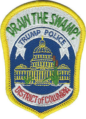 "Drain the Swamp! Trump Police Metropolitan Police DC Hat Patch 3 1/8""x2 1/4"" NEW"