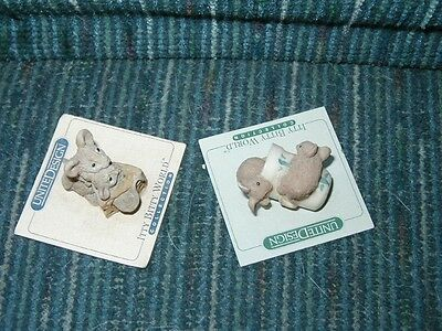 Vintage Itty Bitty United Design Collectible Thimble Mice & Mice in Cheese