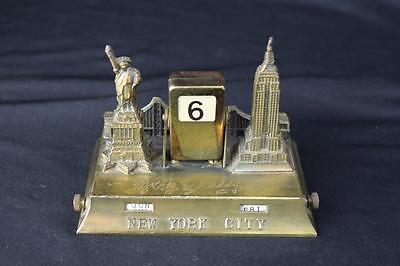 Art Deco NYC New York City Brass Perpetual Calendar Empire State, Statue Liberty