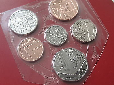 2014 UK 6 coin shield 1p - 50p sealed/mint. GENUINE Brilliant Uncirculated coins