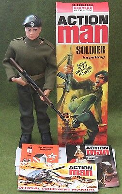 vintage action man 40th anniversary flocked hair soldier gripping hands  boxed
