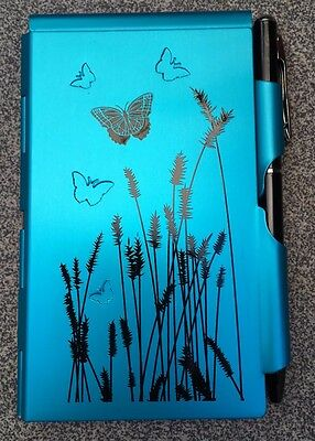 Wellspring Flip Note Paper Pad w/Pen-Natural Elements-Blue Butterfly #2209