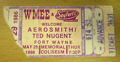 1986 Aerosmith Ted Nugent Fort Wayne Concert Ticket Stub Done With Mirrors Tour