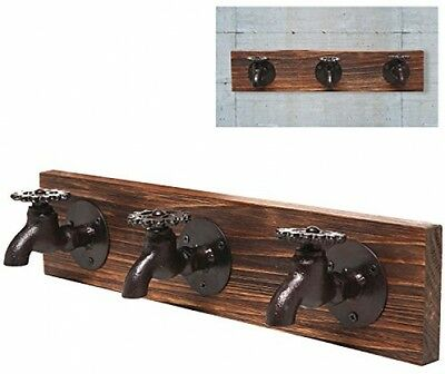 Country Rustic Old Fashion Faucet Wall Mounted Iron and Wood 3 Coat Hooks Hat