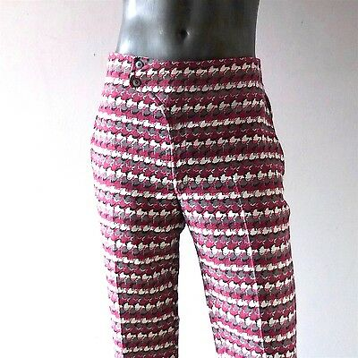 "Vintage Emilio Pucci Men's Wool Pants Vintage 1960s 34"" W Mod Wool Purple Pink"