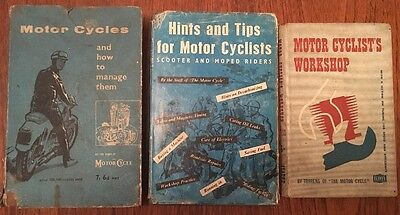 3 x Vintage Motorcycling Motorbike Books / Workshop Manuals, 1947-1960