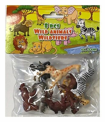 Pack Of 8 Kids Childrens Assorted Plastic Pvc Toy Wild Animals Jungle Zoo Figure