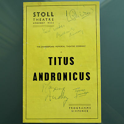 Laurence OLIVIER Signed Titus Andronicus Stoll Theatre Co Programme 1957