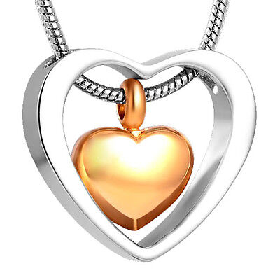 Cremation Jewellery for Ashes Memorial Pendant Gold & Silver Heart Necklace Urn