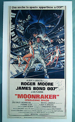 James Bond 007 MOONRAKER Poster Signed by Richard Keil Linen Backed Authentic
