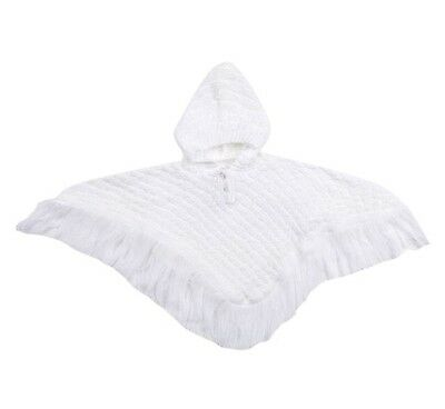 Baby Girls Knitted White Poncho With hood Tassel Trim  Coat Cape Cardigan Jumper