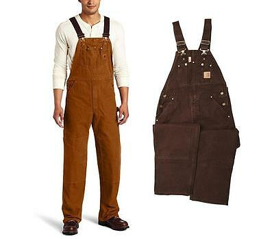 New Carhartt Bib Overalls Sandstone Duck Unlined Men's $100 All Sizes R06 Canvas