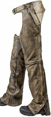 Motorcycle Distressed Brown Soft Leather Chap Fully Lined W/ 4 Pocket Snap Zip