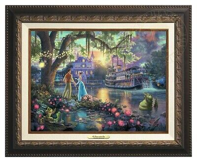 Princess and the Frog Thomas Kinkade 12x16 Canvas Disney Giclee Framed Bronze