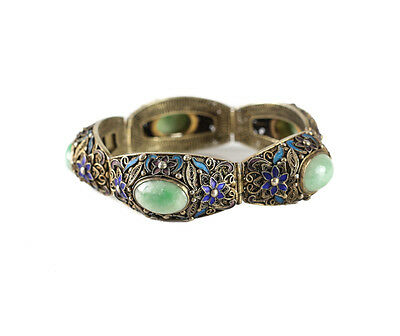 Chinese Gilt Sterling Silver Filigree Jade Jadeite and Enamel Bracelet c1930