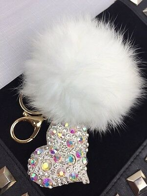 New White Heart With Rhinestones Fur Pompom Ball Bag Charm/Keyring.IDEAL GIFT.!!