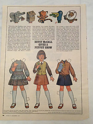 1977 Vintage Betsy McCall uncut Paper Doll Betsy Gives A Puppet Show
