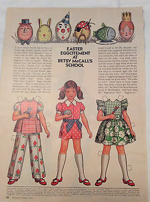 1973 Vintage Betsy McCall uncut Paper Doll Easter Eggcitement At Besty's School