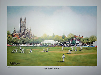 Worcestershire  Cricket  limited edition signed print