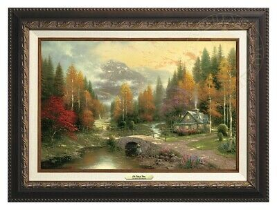 The Valley of Peace Thomas Kinkade 12x18 Canvas NEW Giclee Aged Bronze Frame