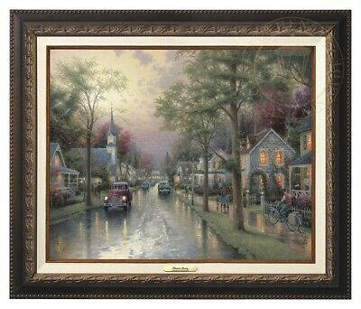 Hometown Morning Thomas Kinkade 12x16 Canvas NEW Giclee Aged Bronze Frame