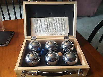 Chrome Bocce 6 Ball  Set With Small Wooden Ball And Spike In Wooden Case